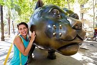 Cat statue at Rambla del Raval  Barcelona, Spain