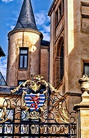 Dukes Palace gate with the Royal Family Shield historical country of Luxemburg