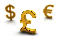 Pound currency symbol in focus