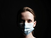 Young Woman With Medical Mask Covering Her Face.