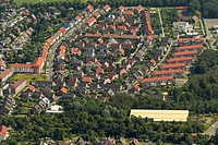 Aerial view, residential area, Franz-Gerwin-Strasse street, Wethmar Mark, Luenen, Ruhr area, North Rhine-Westphalia, Germany, Europe