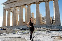 CHARLOTTE HOLMES who was crowned Miss England for2012 poses for the photographers with Parthenon in the background during her visit at the Acropolis