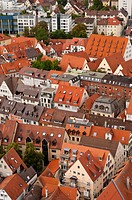 View of Ulm as seen from Ulm Minster, Ulm, Baden-Wuerttemberg, Germany, Europe