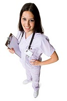 High angle view of a female nurse holding a clipboard