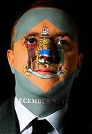 us state of delaware flag painted face of businessman or politic