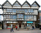 View of the Ancient High House in Stafford England, an Elizabethan town house and is the largest timber framed town house in England