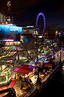 The South Bank and Christmas Market at night, London, England