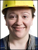 Female construction worker with hardhat