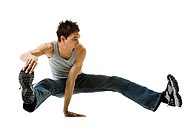 Young man break dancing