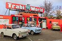 Zimmer, Berlin, Germany, Europe  Trabi World Trabant museum and cars used for city sightseeing tours outside Trabi World  Only vehicles available in f...
