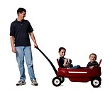 Father with sons and toy wagon