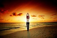 sunset yoga woman