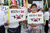 Naha, Okinawa, Japan, people gathering in front of Okinawa's Prefecture to protest against the American military occupation of Okinawa, the use of V-2...