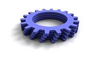 3d blue cog wheels