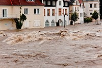 high water and flooding in steyr, austria