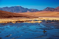 Rio Putana and volcanoes in Atacama region, Chile