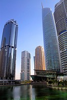 United Arab Emirates, U A E , UAE, Middle East, Dubai, Jumeirah Lake Towers, Platinum Tower, Almas Tower, Mohammed Ibrahim Tower, tall building, skysc...