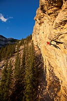 A man climbs the sport route Fire in the Sky 12b at sunset, Echo Canyon, Canmore, Alberta, Canada