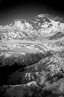 Mt Everest with its customary plume of cloud blowing off the summit, seen from 7000 meters Himalayan Mountains Nepal