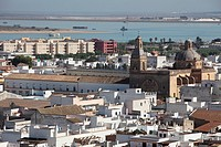 Panoramic view of Sanlucar de Barrameda from hotel Guadalquivir, Cadiz, Andalucia, Spain