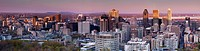 Panoramic view of Downtown Montreal, Montreal Centre_Ville skyline during sunset. Quebec, Canada 2012