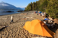 A kayak camp on Vargas Island Clayoquot Sound British Columbia, Canada. Model Released
