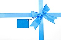 Blue ribbon and bow with label