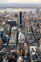 New York City Manhattan street aerial view