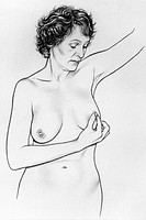 A woman checks her nipple for signs of discharge. This was part of a series on how to conduct a breast self exam.