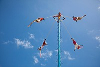 The Danza de los Voladores, Dance of the Flyers, or Palo Volador, Pole Flying, is an ancient Mesoamerican ceremony and ritual, Tulum, Riviera Maya, Qu...