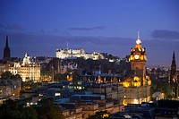 Edinburgh Castle and buildings seen from Calton Hill at night, Edinburgh, Scotland, United Kingdom