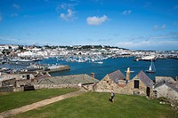 View from Castle Cornet across harbor and town, St Peter Port, Guernsey, Channel Islands, England, British Crown Dependencies