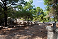 Main street in the ancient citiy of Phaselis, lycian coast, Lycia, Mediterranean, Turkey, Asia