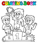 Coloring book winners podium _ picture illustration.