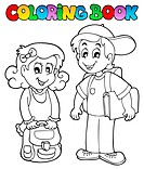Coloring book school topic 3 _ picture illustration.