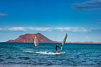 Windsufer near the Island of Lobos, Corralejo, Fuerteventura, Canary Islands, Spain