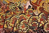 Vintage traditional Thai style art painting on temple for backgr