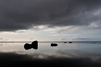Quiet waters of the Lagoon near Skogar, Iceland, Scandinavia, Europe