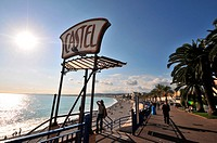 Promenade des Anglais at the Castel in the sunlight, Nice, Cote d´Azur, South France, Europe