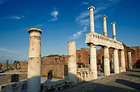 Doric & Corinthian columns of the Roman colonade in the Forum of Pompeii