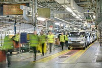 Blurred view of car factory
