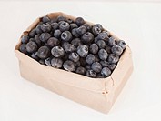 Carton of blueberries on white background