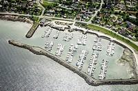 Aerial view of village harbor