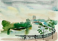 Moscow embankment watercolor