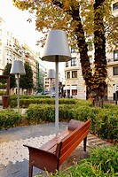 Urban furniture at Arriquibar square, Bilbao, Biscay, Basque Country, Spain