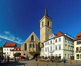 Wenigemarkt with St. Aegidien church in Erfurt, Thuringia, Germany