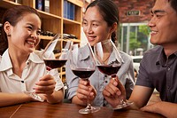 Chinese friends toasting each other with wine
