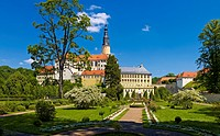 Weesenstein castle with baroque garden in Mueglitztal, Saxony, Germany