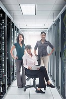 Businesswomen in server room