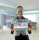 African American businesswoman using digital display